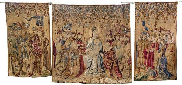 6018: Triptych Flemish tapestries, 17th c.