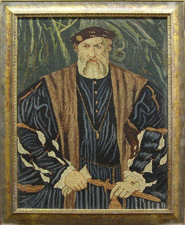 6020: Framed needlepoint tapestry Henry VIII