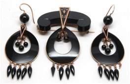 Victorian black onyx enamel 14k yellow gold jewelry