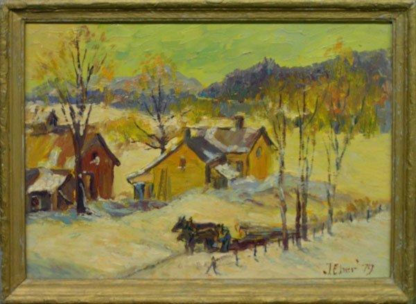 2: painting oil WInter Farm Joe Eber 1979