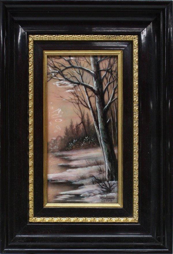 4: painted Limoges plaque Winter Bonhomme