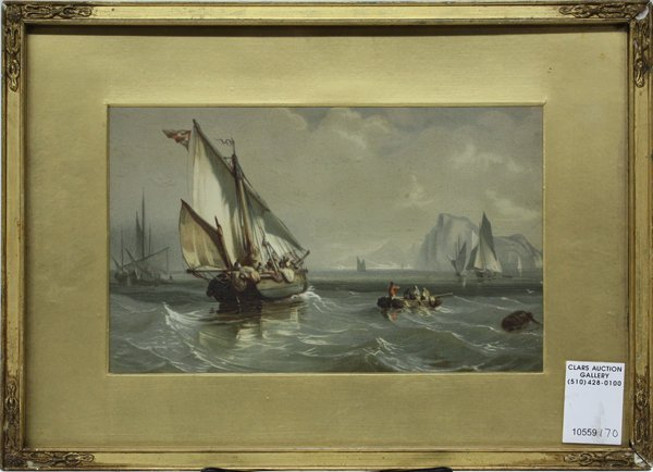 10: Color Lithograph Ships antique