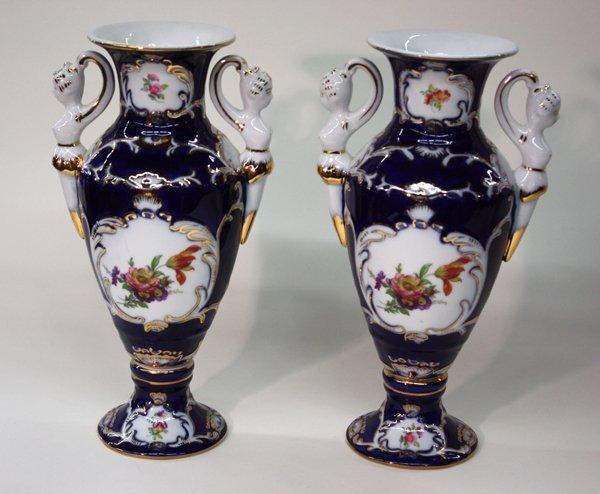 12: Limoges blue white porcelain vases