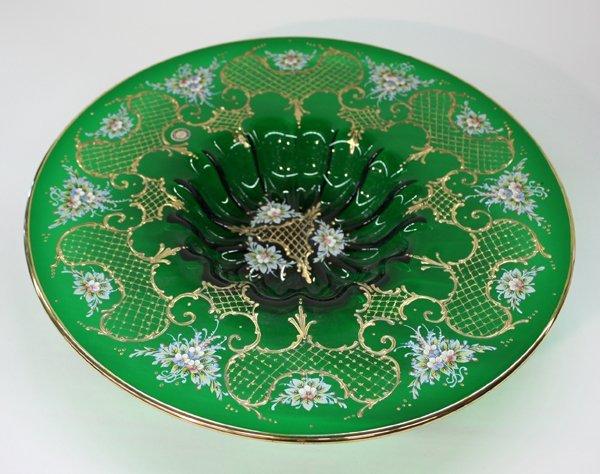 17: Murano emerald green glass center bowl