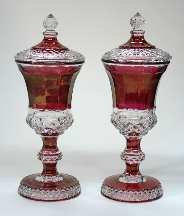 20: ruby clear flashed glass covered urns