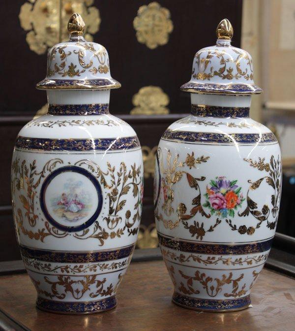 23: Limoges lidded vases
