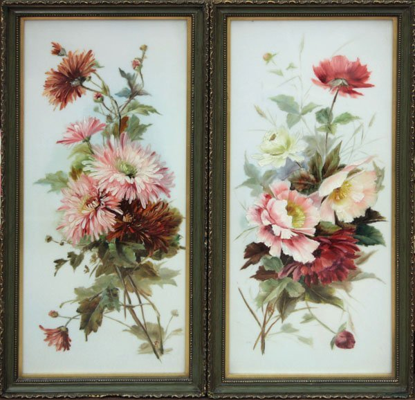 2014: paintings oil glass Flowers 19th C
