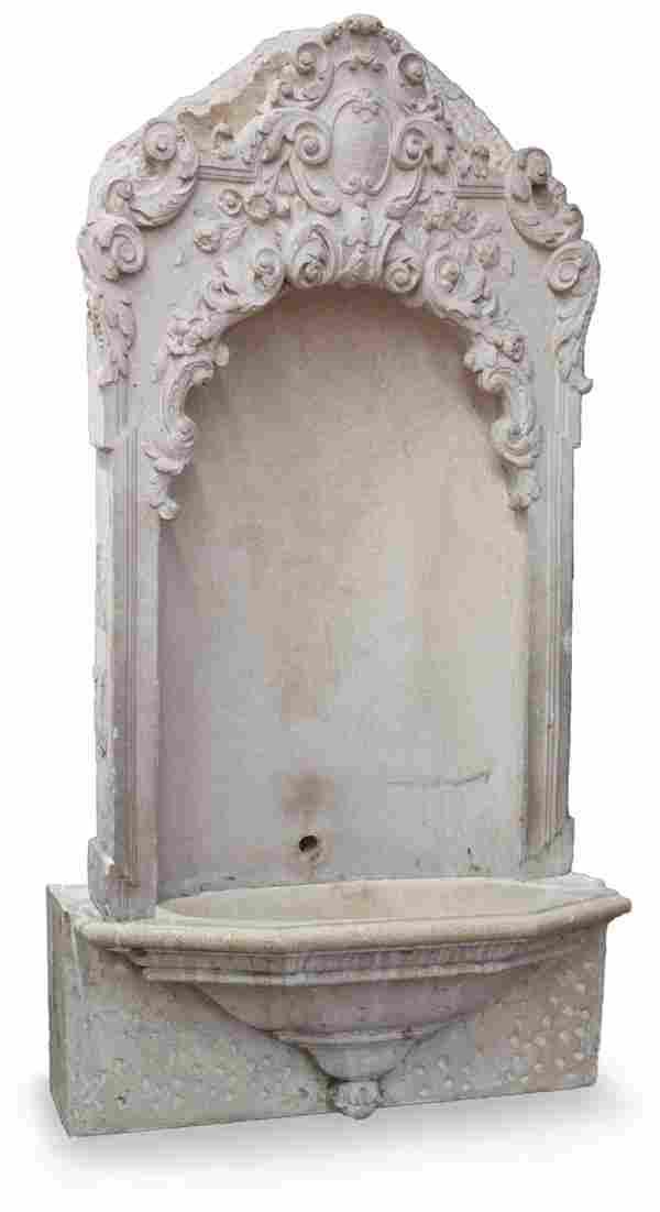 2581: Victorian cast stone wall fountain