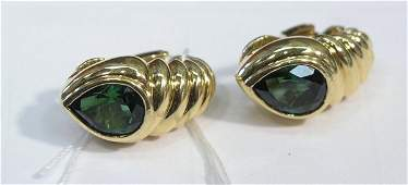 3035: BVLGARI tourmaline ear clips Bulgari