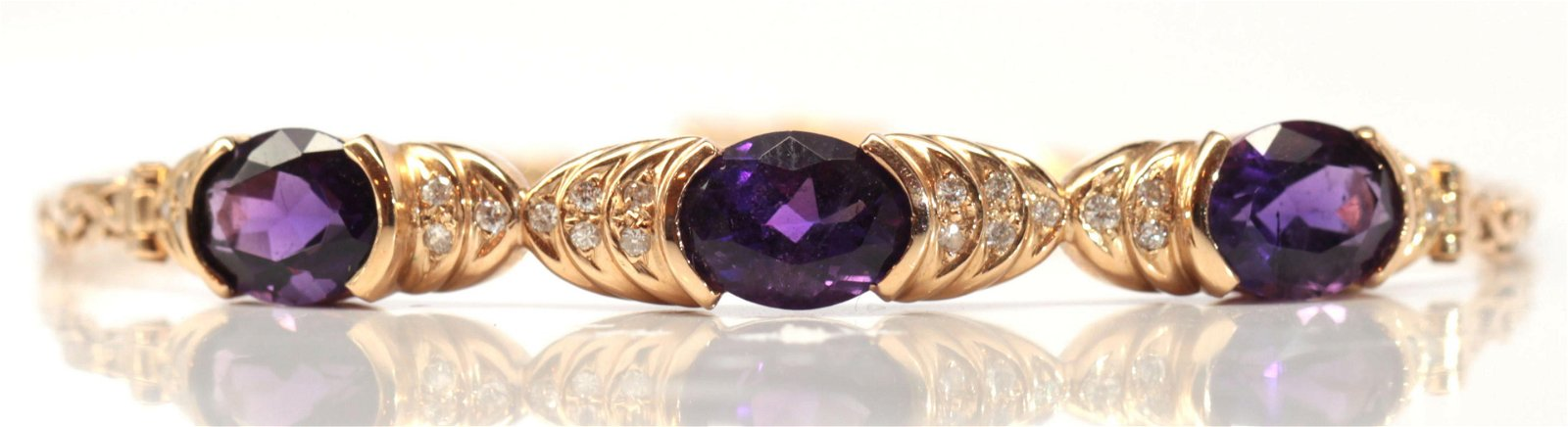 Amethyst, diamond, 14k yellow gold bracelet