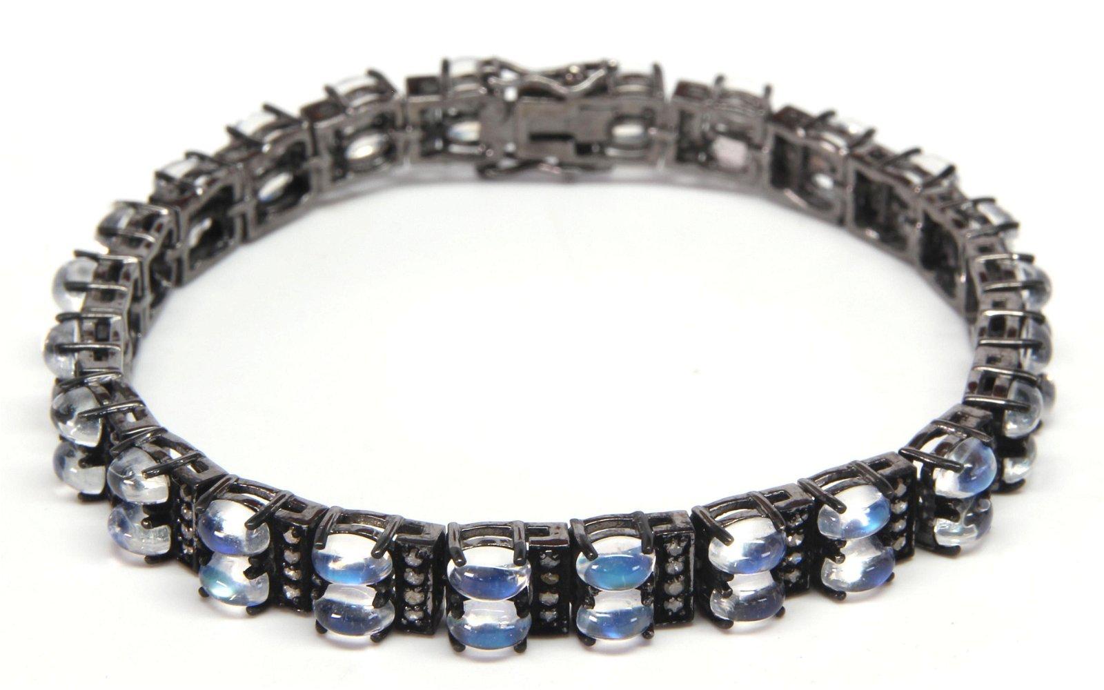 Moonstone, diamond, blackened silver bracelet