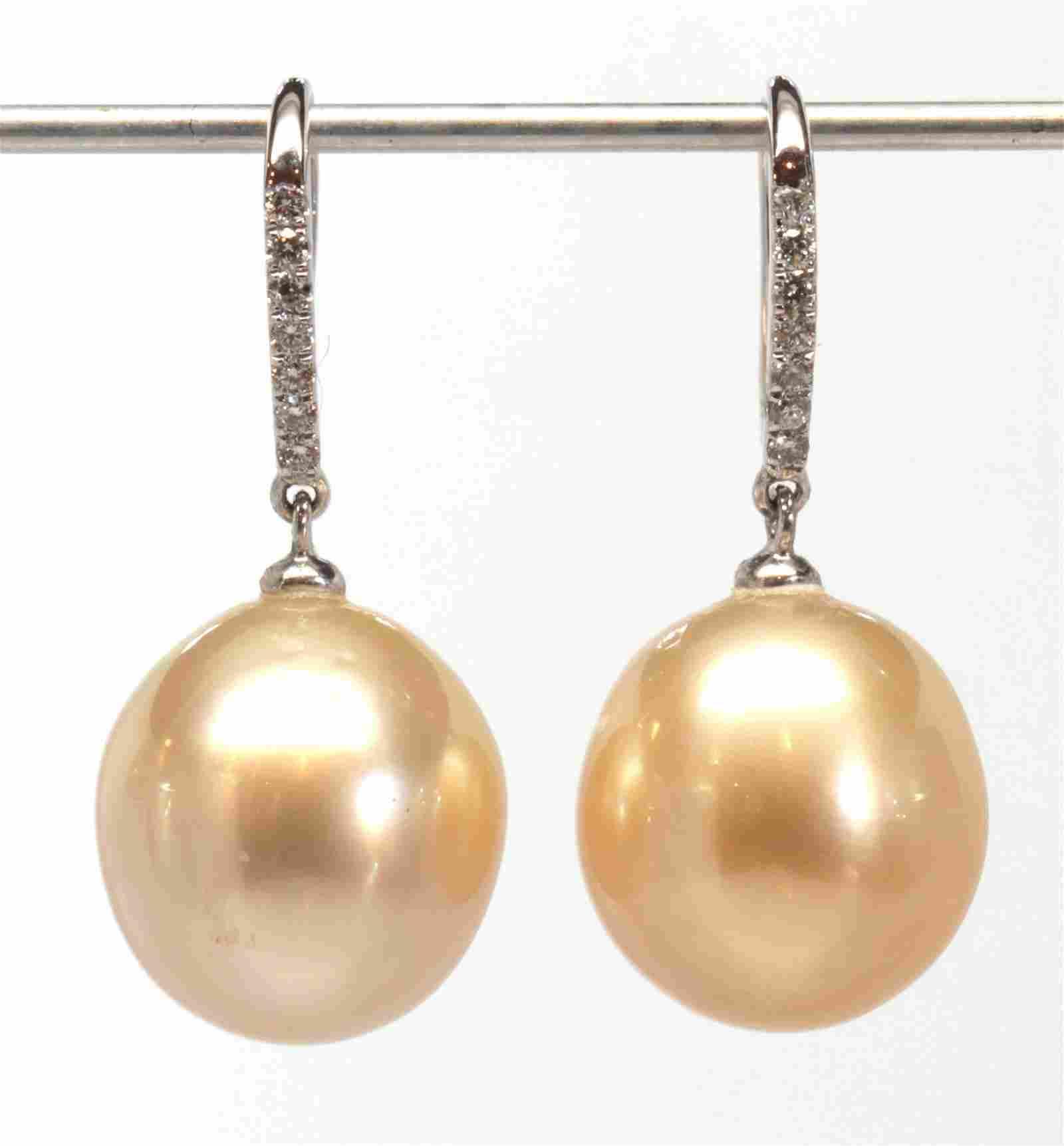 Pair of South Sea cultured pearl, diamond, 18k white