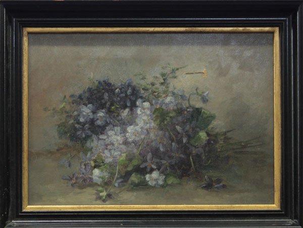 4008: painting, Still Life, violets, 20th C