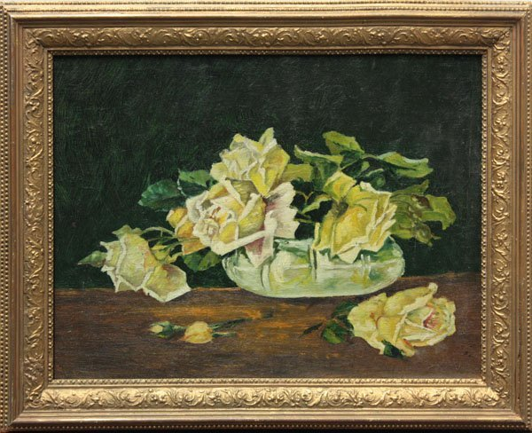 4009: painting, Yellow Roses, vintage