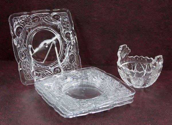 4016: Heisey glass dessert plates candy dish