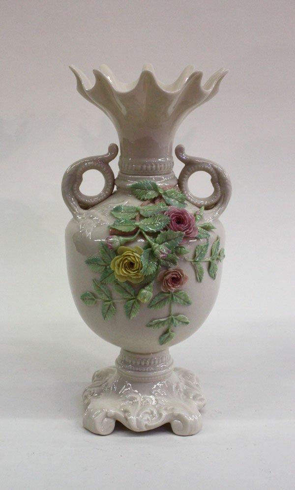 4020: Belleek painted ''Rose Isle'' vase