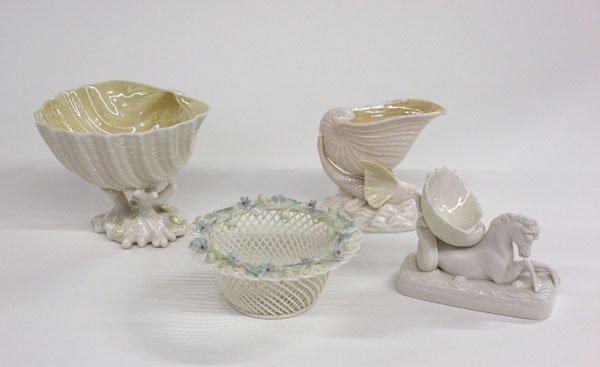4022: Belleek porcelain bowl vase