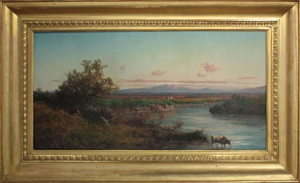 4417: painting, Cows, Sunset