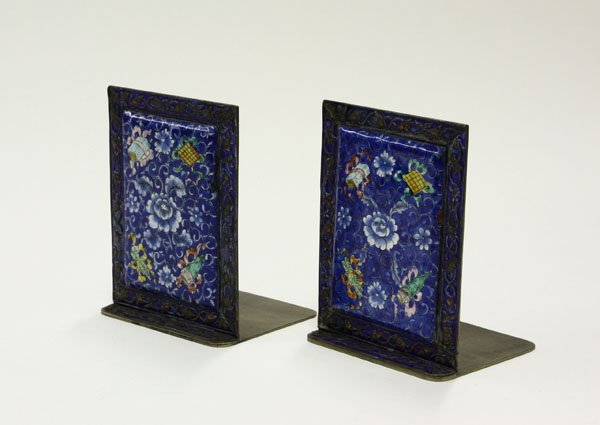6021: Chinese polychrome enameled bookends