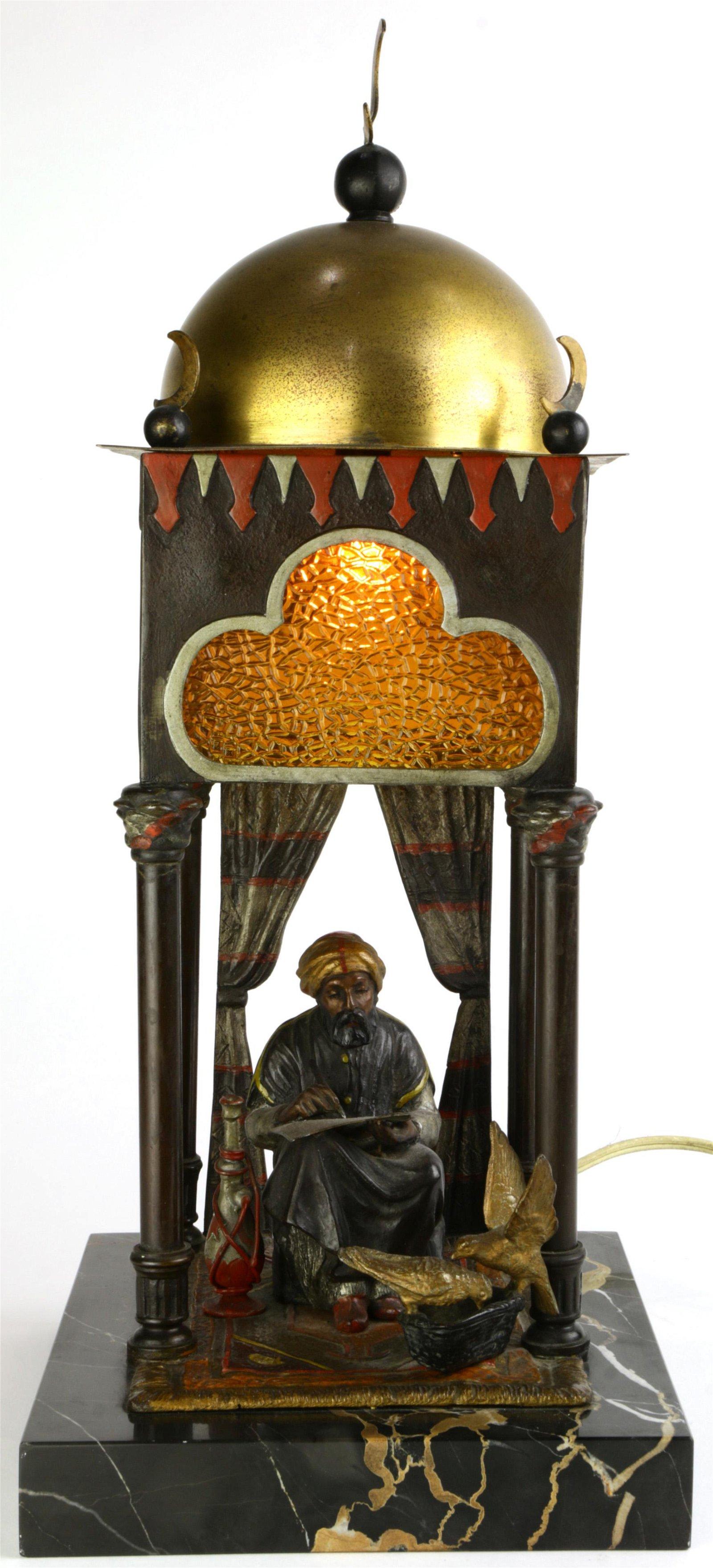 A Vienna cold painted bronze lamp, after Franz Bergmann