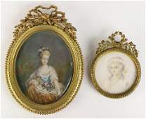 (lot of 2) Two framed miniature portraits of ladies