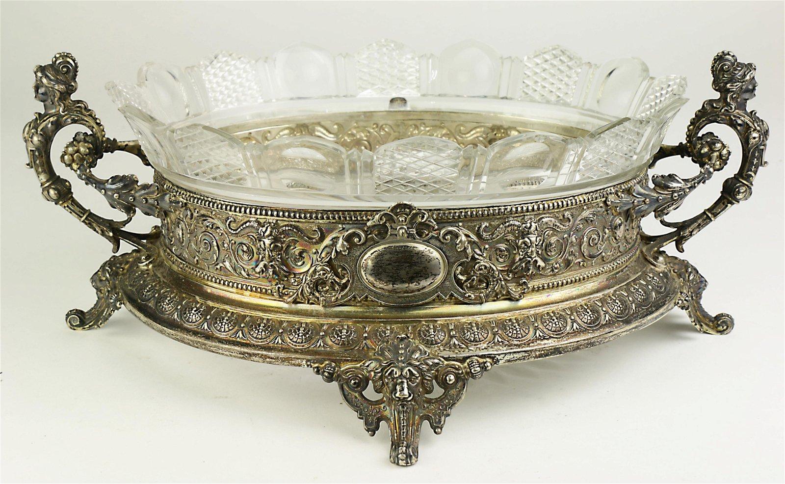 A Victorian silver plate console dish