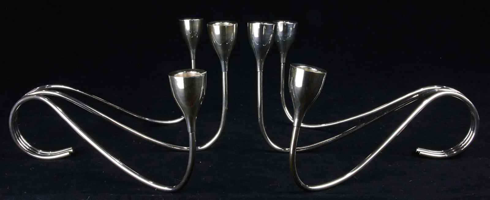 A Japanese Mid Century Modern pair of .950 silver three