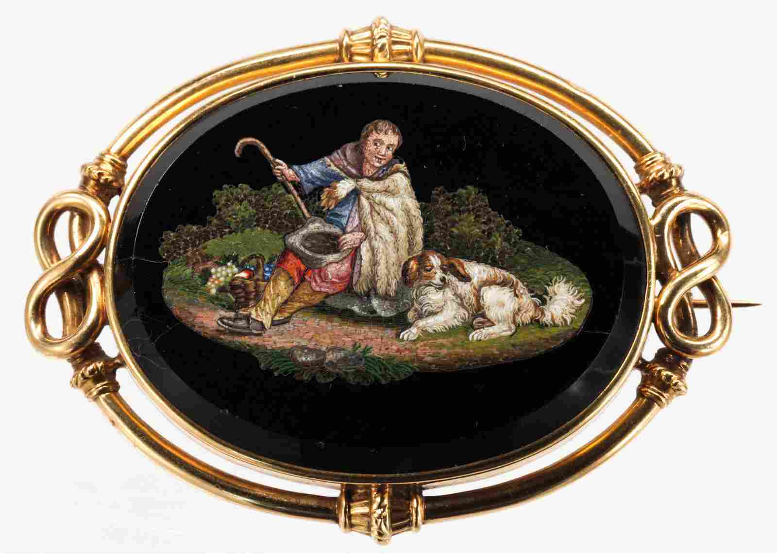 Victorian micromosaic, onyx and 14k yellow gold brooch