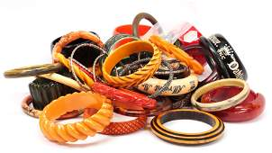 Collection of bakelite and plastic bracelets