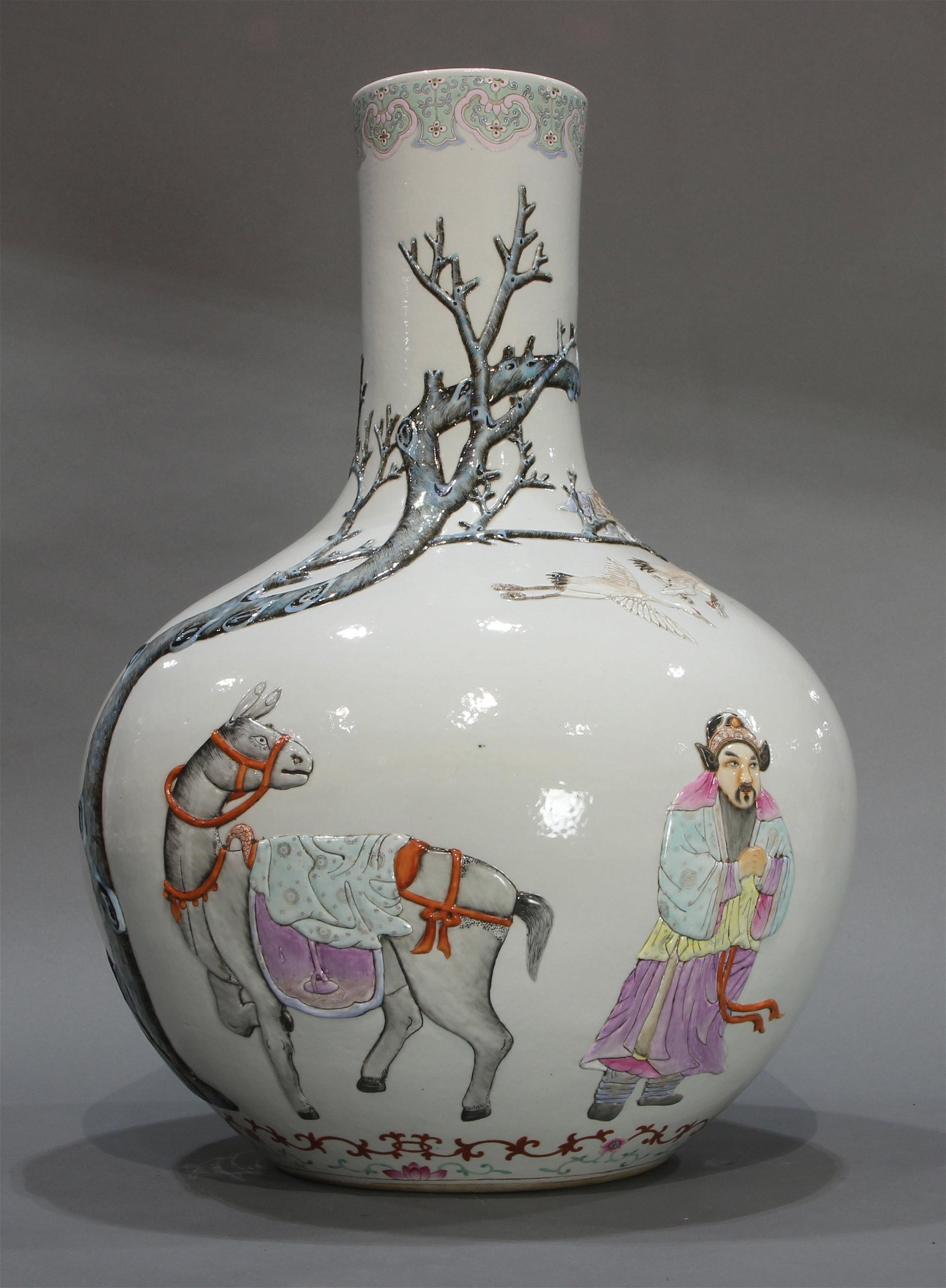 A Large Chinese Famille Rose 'Figure' Bottle Vase with