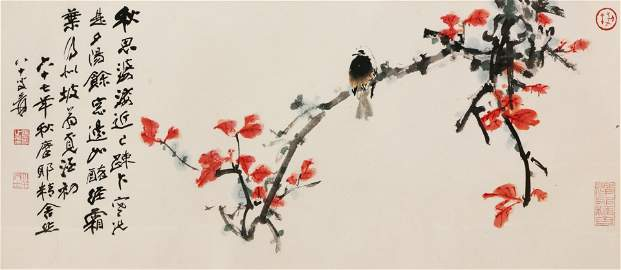 Zhang Daqian, Red Leaves and Bird, ink and color on
