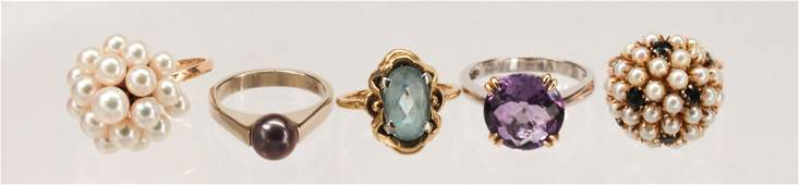 (Lot of 5) Multi-stone, gold rings