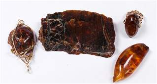 Collection of amber, gold-filled, metal jewelry and