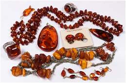 Collection of amber, silver, metal jewelry