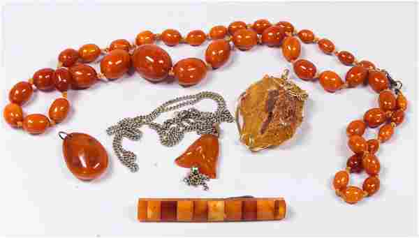 Collection of (5) amber, gold-filled, metal jewelry