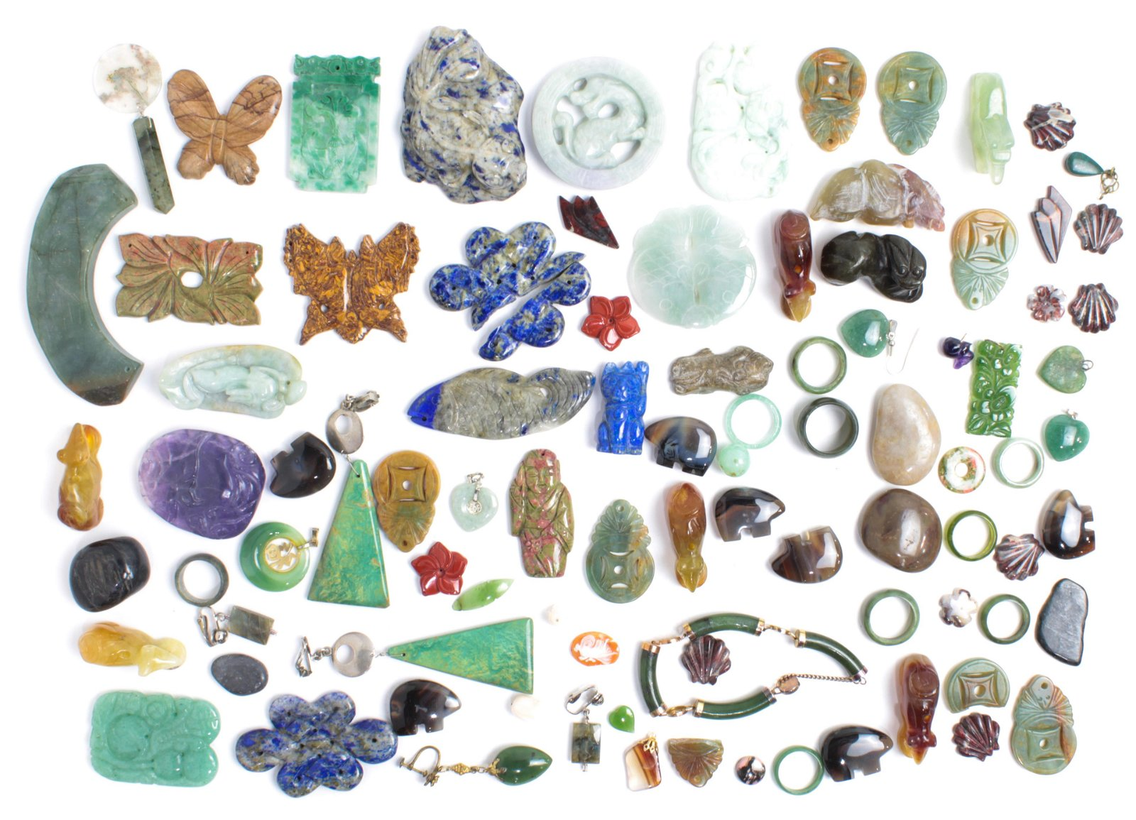 Collection of multi-stone, metal items