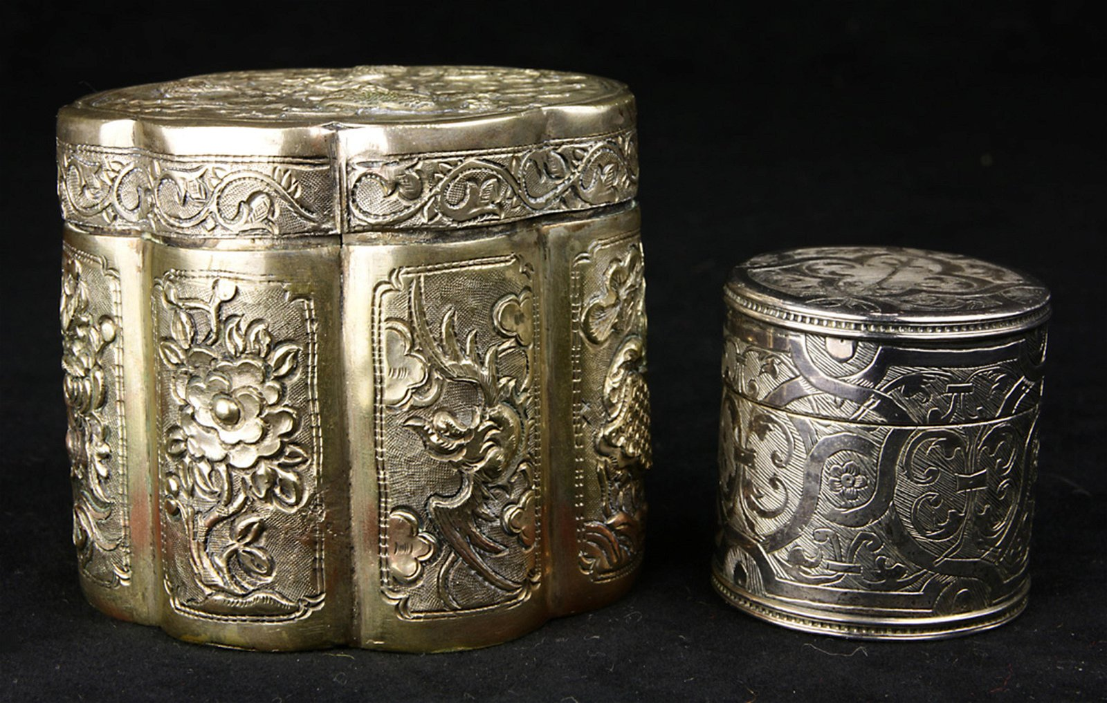 (lot of 2) Asian style silver boxes