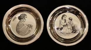 Pair Franklin Mint Mother's Day sterling plates