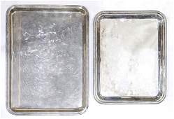 (lot of 46) Two Christofle silver plate trays