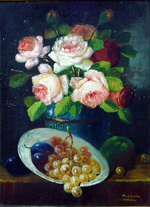 2: Oil, floral still life, European