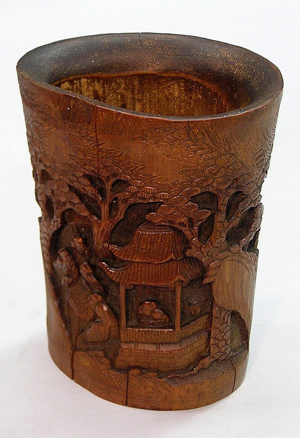 16: Chinese carved bamboo brush pot