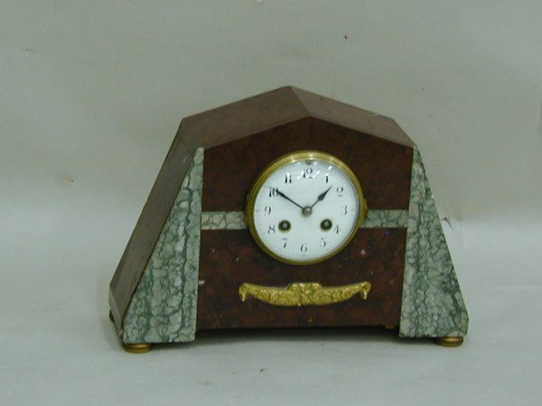 20: Art Deco marble & bronze mantle clock