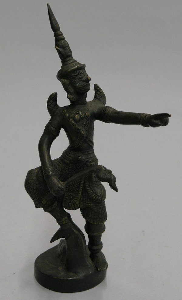 22: Thai demon masked dancer in bronze