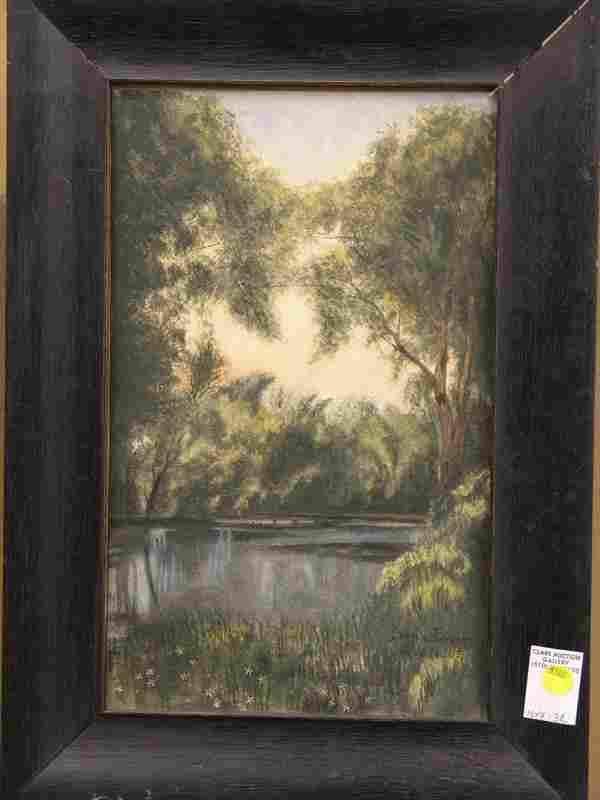162: Framed watercolor, Landscape, Service