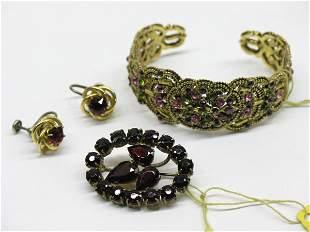 Garnet Jewelry and Hollycraft Cuff