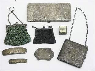 Lot with sterling cases and purses