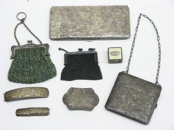 1896: Lot with sterling cases and purses