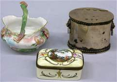 2061 Sheffield tea caddy with French porcelain