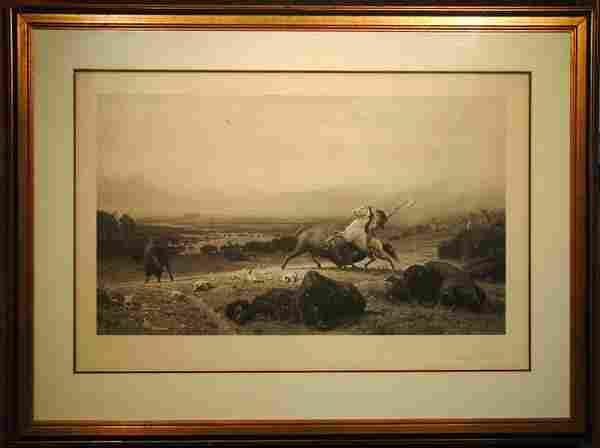 Photogravure, Buffalo, Bierstadt