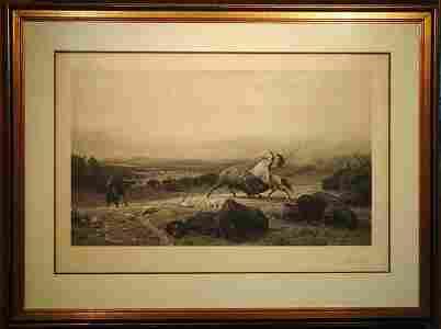 2151: Photogravure, Buffalo, Bierstadt